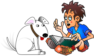 [reading to a dog]